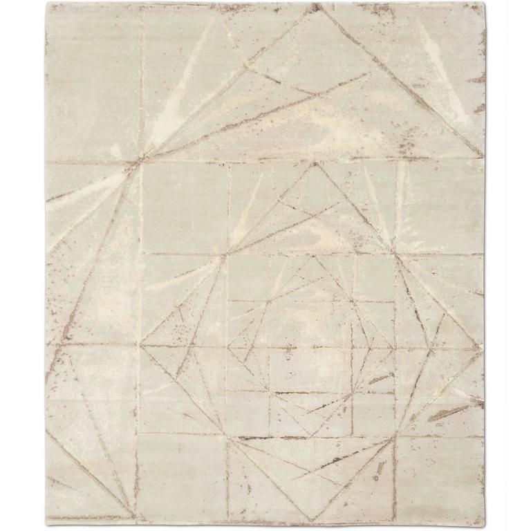 'Crystallized_Clay'' Hand-Knotted Tibetan Rug Made In