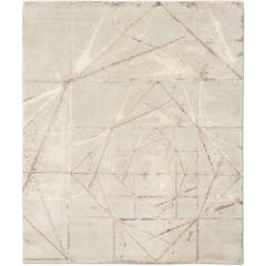 'Crystallized_Clay'' Hand-Knotted Tibetan Contemporary Abstract Rug Wool & Silk