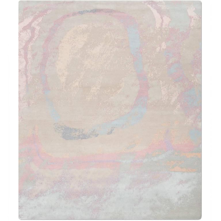 'Marbling_Original' Hand-Knotted Tibetan Contemporary Abstract Rug Wool & Silk For Sale