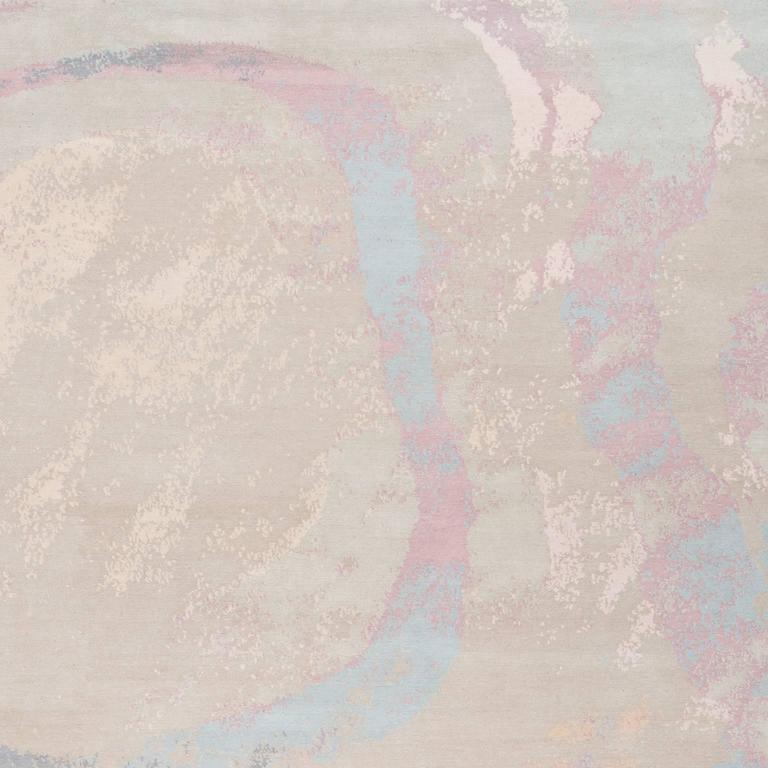 Modern 'Marbling_Original' Hand-Knotted Tibetan Contemporary Abstract Rug Wool & Silk For Sale