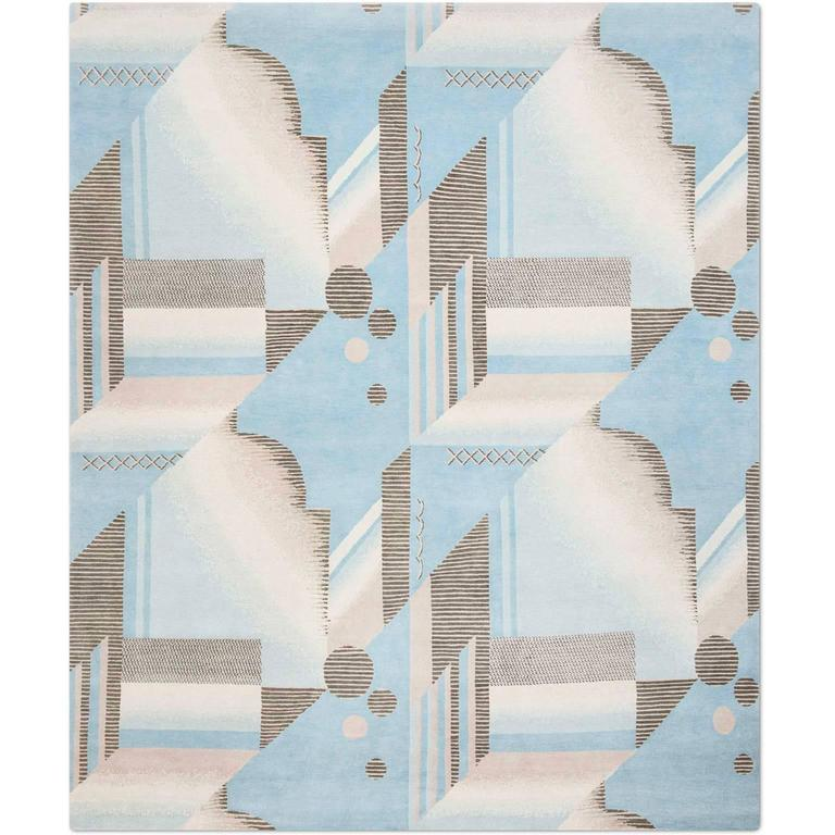 'Art Deco Aqua', Hand-Knotted Tibetan Contemporary Geometric Rug Wool & Silk