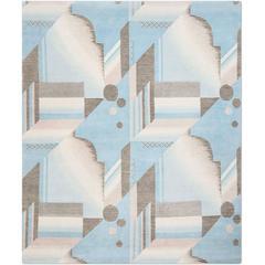 'Art Deco Aqua', Hand-Knotted Tibetan Contemporary Geometric Rug Wool & Silk