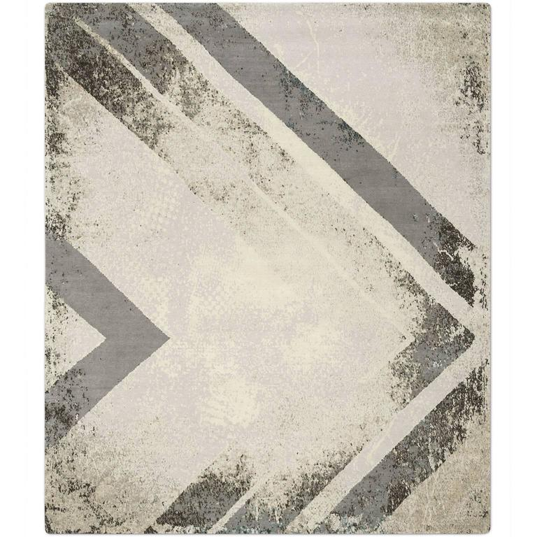 'Chevron Natural Teal', Hand-Knotted Tibetan Rug Made In