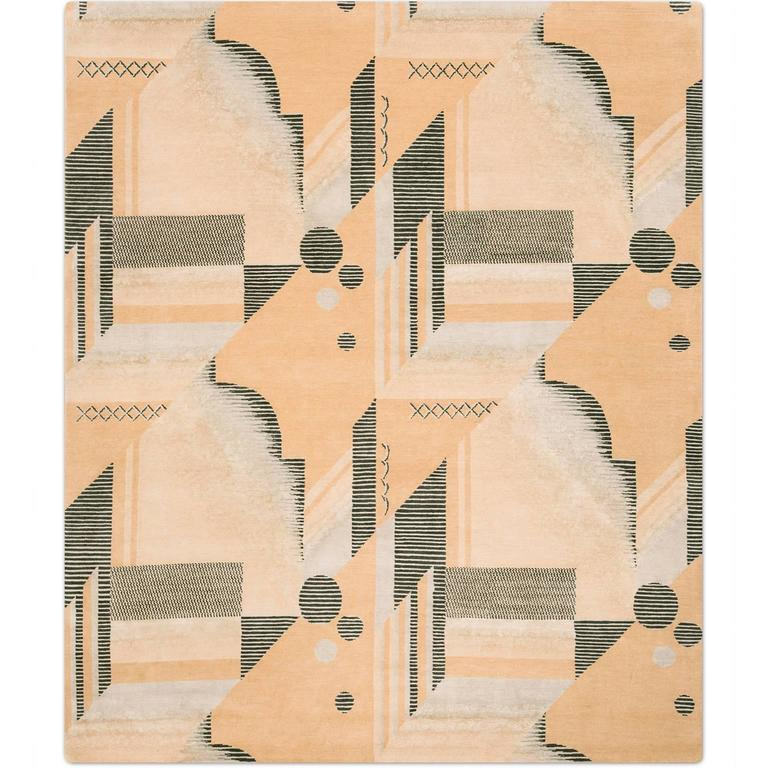 'Art Deco_Melon' Hand-Knotted Tibetan Contemporary Geometric Rug Wool & Silk