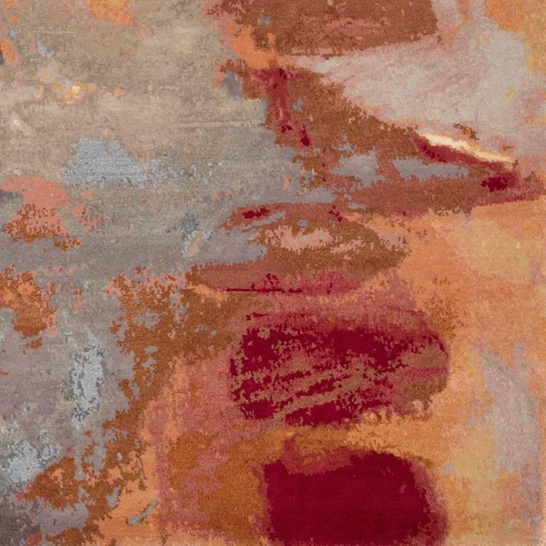 Wool 'Canvas Original' Hand-Knotted Contemporary, abstract, wool & silk, Tibetan Rug  For Sale