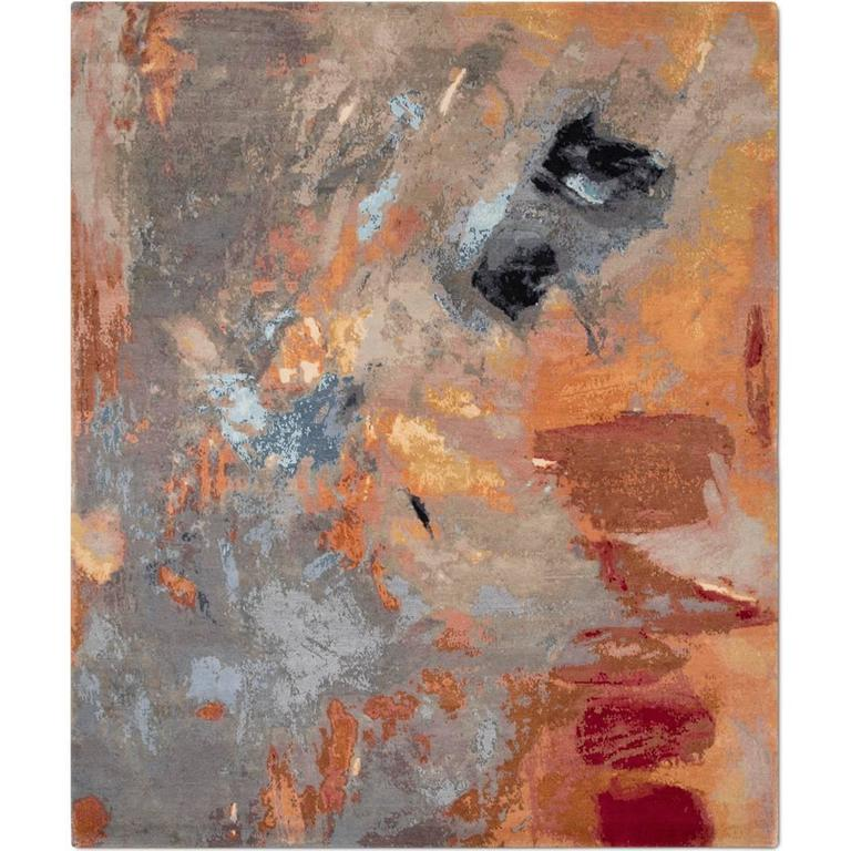 'Canvas Original' Hand-Knotted Contemporary, abstract, wool & silk, Tibetan Rug  For Sale