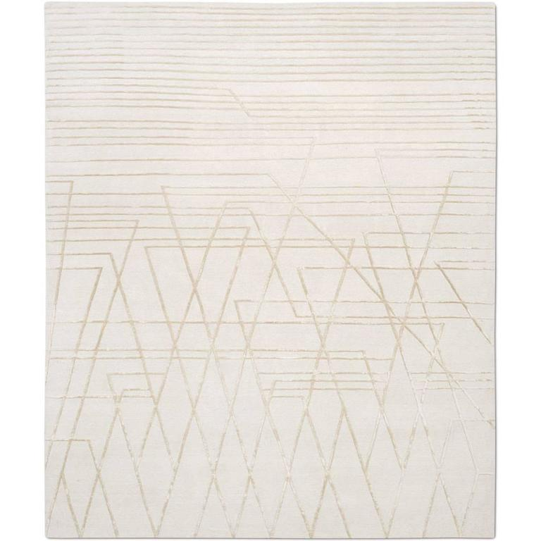 'Broken Lines No 01_Neutral' Hand-Knotted Tibetan Modern Geometric Rug Wool Silk