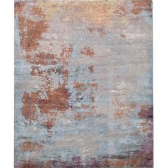 'Elements No. 01_Blue Rain' Hand-Knotted Tibetan Rug Made in Nepal by Knots Rugs