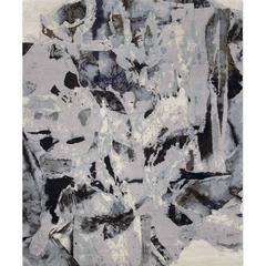 'Montage_Grey' Hand-Knotted Tibetan Contemporary Abstract Rug Wool & Silk