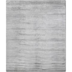 'Silk Lines_Silver' Hand-Knotted Tibetan Modern Plain Neutral Rug Wool & Silk