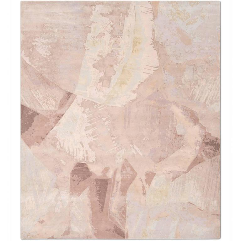 'Calcite Blush' Hand-Knotted Tibetan Rug Made In Nepal By