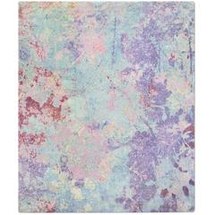 'Silhouette Purple', Hand-Knotted Tibetan Contemporary Abstract Rug Wool & Silk