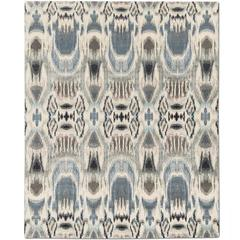 "'Ekat Fashion_Modern Blue"" Hand-Knotted Tibetan Rug Made in Nepal by Knots Rugs"