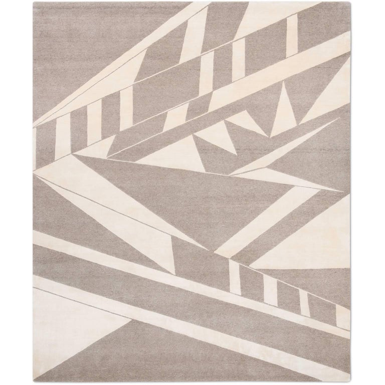 'Deco_Natural' Hand-Knotted Tibetan Contemporary Geometric Rug Wool & Silk Nepal