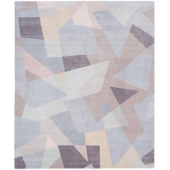 'Patchwork_Pale' Hand-Knotted Tibetan Rug Made in Nepal by Knots Rugs