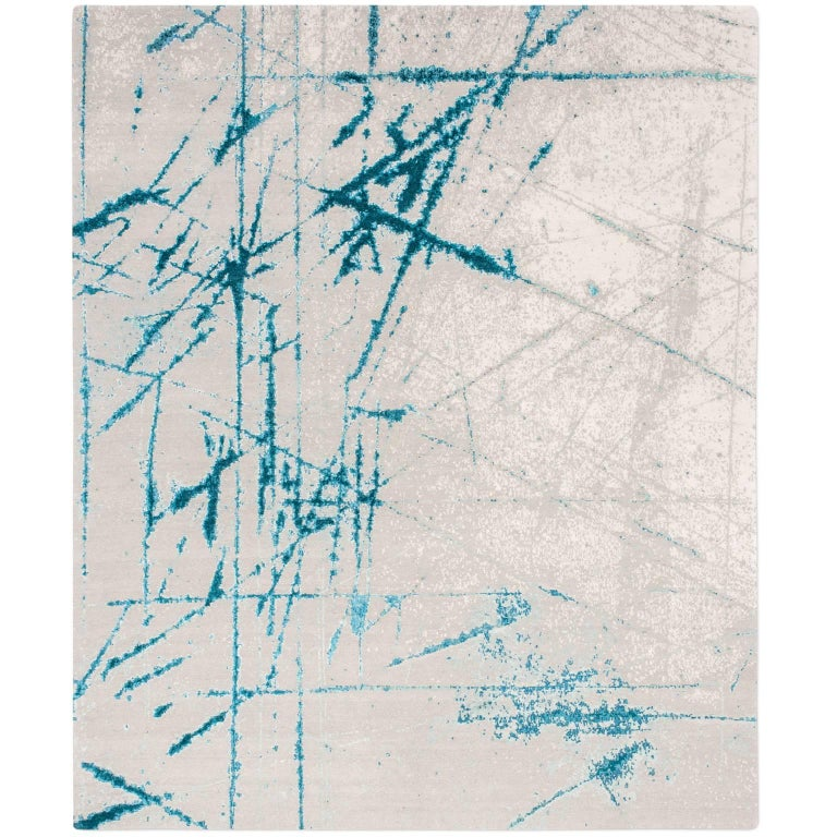 'Etchings_Teal', Hand-Knotted Contemporary, Abstract Wool and Silk Tibetan Rug For Sale