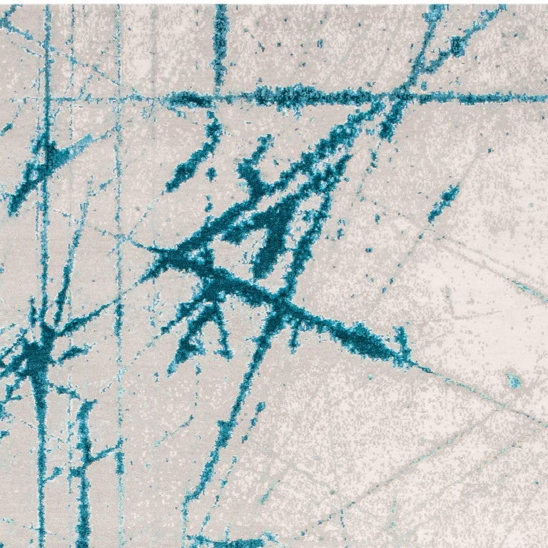 'Etchings_Teal', Hand-Knotted Contemporary, Abstract Wool and Silk Tibetan Rug For Sale 1