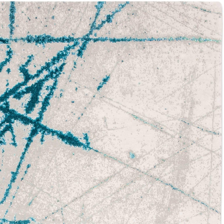 'Etchings_Teal', Hand-Knotted Contemporary, Abstract Wool and Silk Tibetan Rug For Sale 3