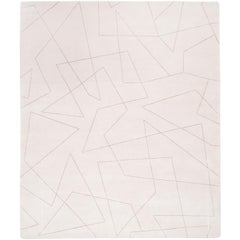 'Angle No.06' Hand Knotted Tibetan Contemporary Geometric Wool and Silk Rug