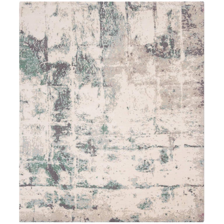 'Brick No. 03 Teal' Hand-Knotted Tibetan Contemporary Abstract Rug Wool and Silk