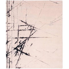 'Etchings_Mauve', Hand-Knotted Contemporary, Abstract Wool and Silk Tibetan Rug