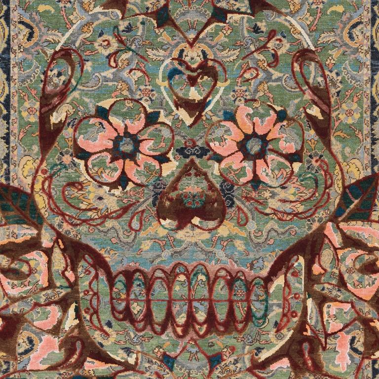 Knots rugs presents the new '17th century modern King Umberto Skull'. Produced in Jaipur in 11/11 Persian knot quality from oxidised wool and silk.