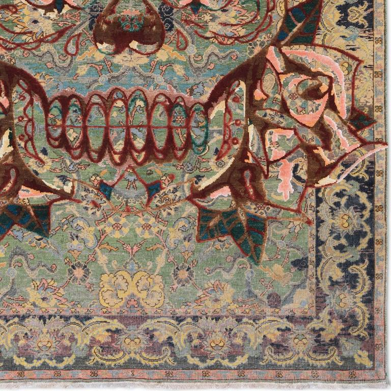 Hand-Knotted 17 Century Modern King Umberto Skull' Persian Knot Modern Vintage Rug Wool Silk For Sale