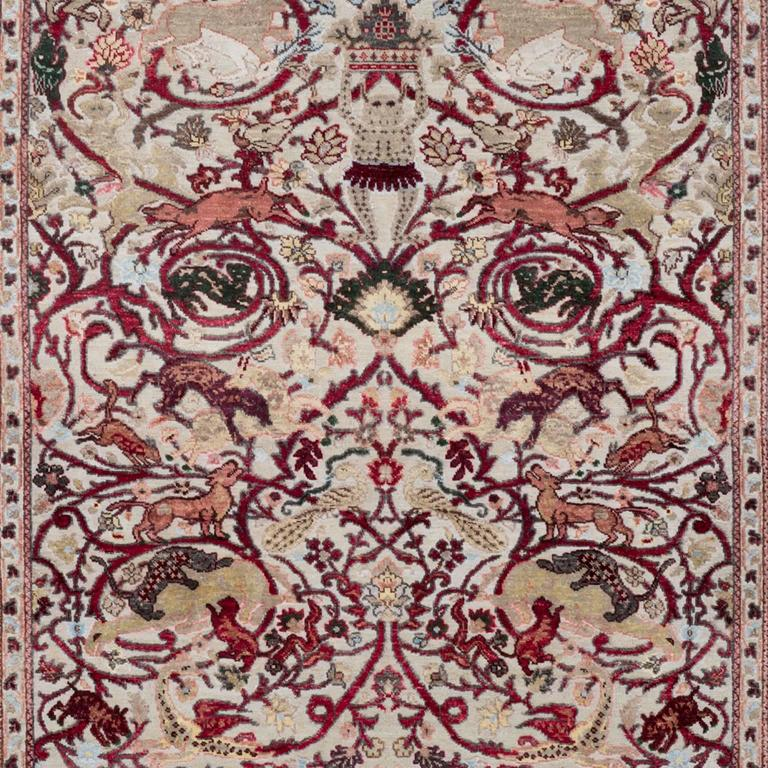 17th Century Modern Mexican Skulls Hand-Knotted Wool and Silk Rug by Knots Rugs 3