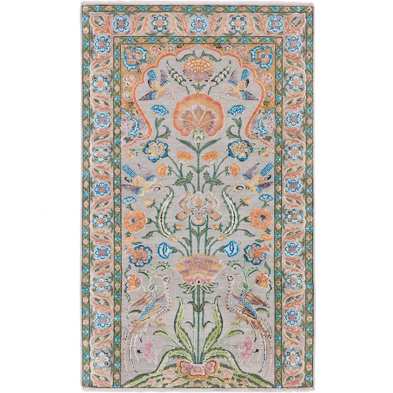 '17th Century Classic_Mughal No. 02'  Jaipur Persian Knot Vintage Rug Wool Silk