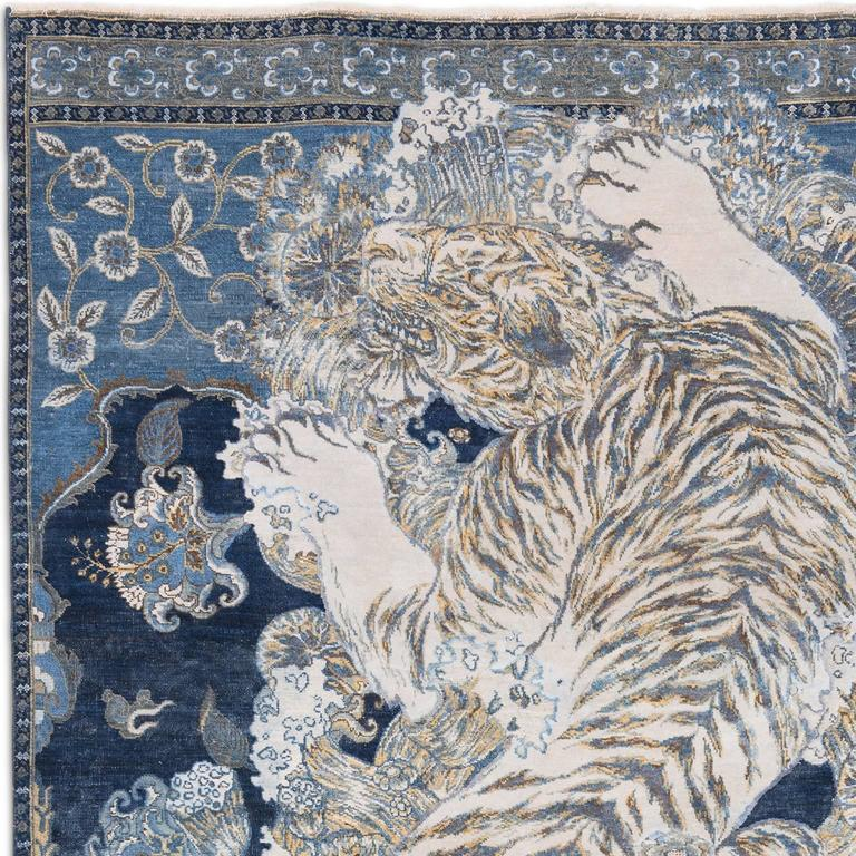 17th Century Modern Tibetan Tiger Hand Knotted Wool and Silk Rug by Knots Rugs 2