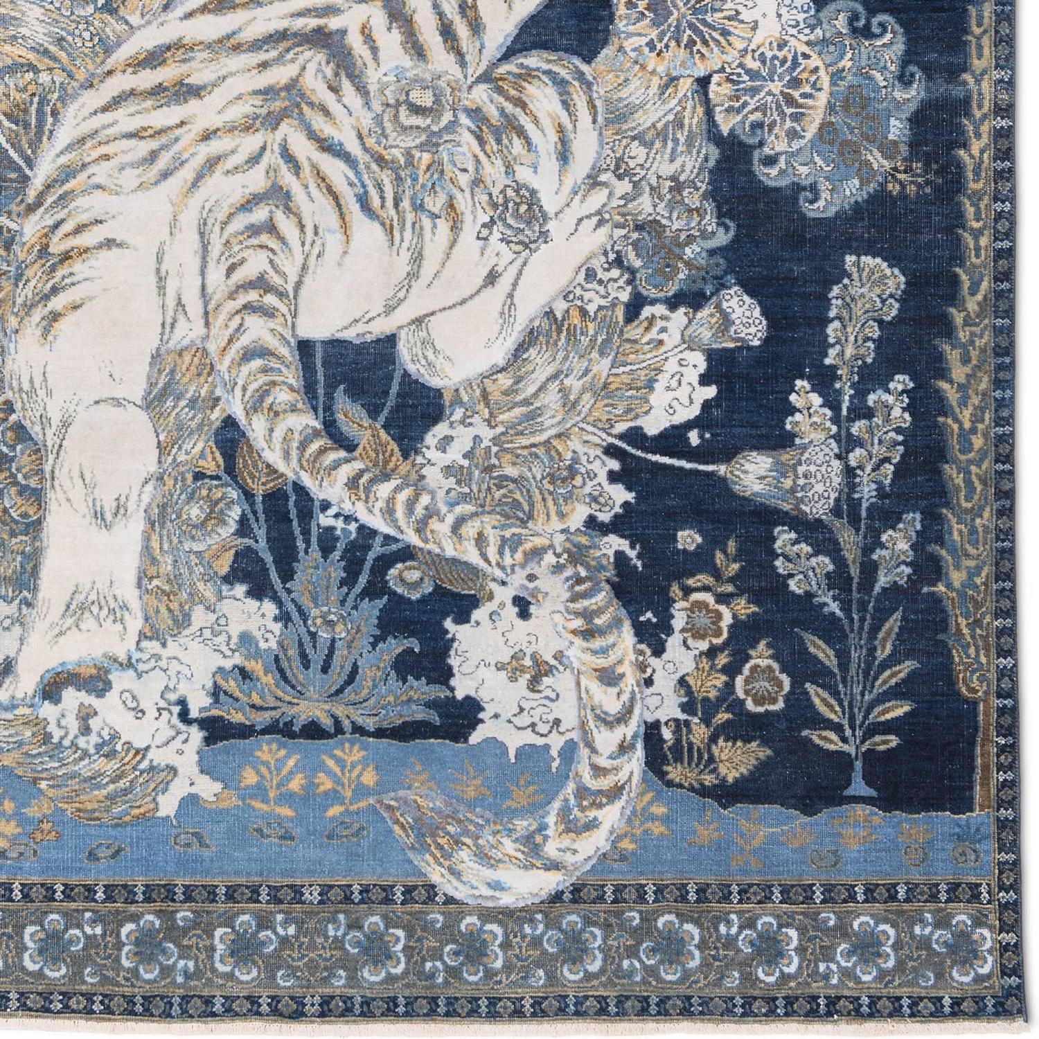 17th Century Modern Tibetan Tiger Hand Knotted Wool And