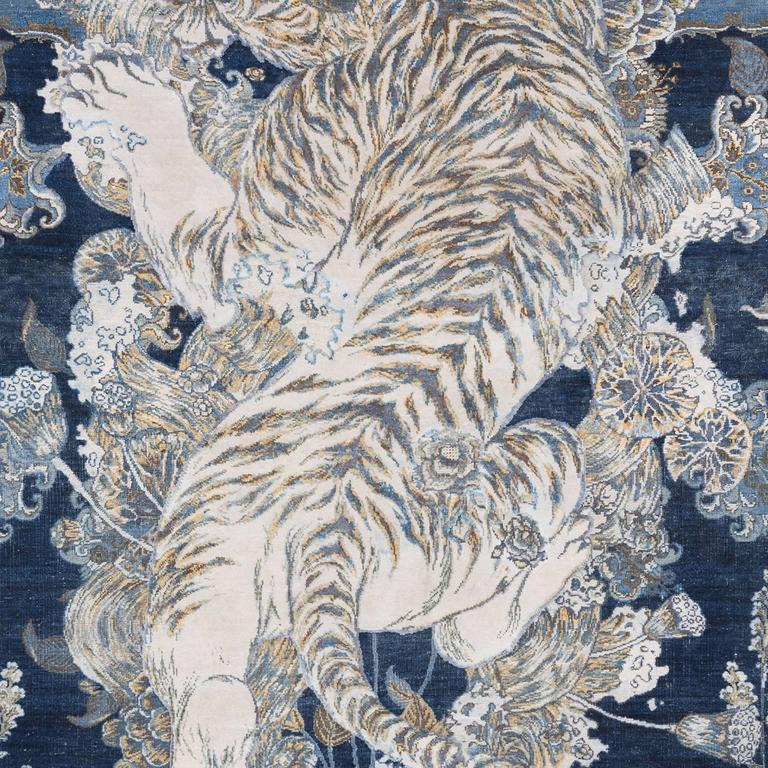 17th Century Modern Tibetan Tiger Hand Knotted Wool and Silk Rug by Knots Rugs 6