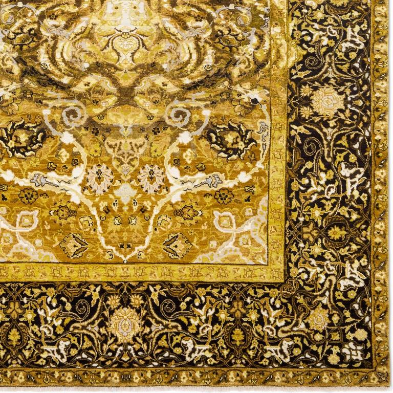Indian 17th Century Modern Tiger Hand Knotted Wool and Silk Rug by Knots Rugs For Sale