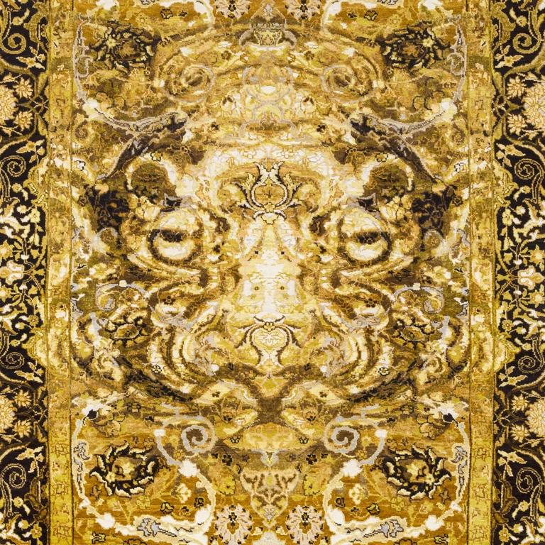 Hand-Knotted 17th Century Modern Tiger Hand Knotted Wool and Silk Rug by Knots Rugs For Sale