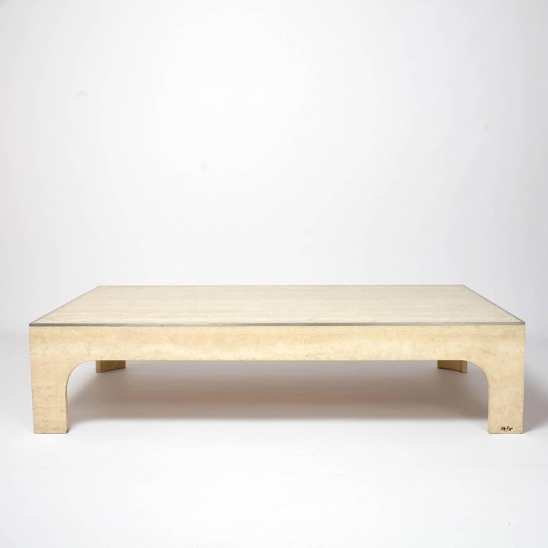 willy rizzo coffee table travertine and steel 1980s for. Black Bedroom Furniture Sets. Home Design Ideas