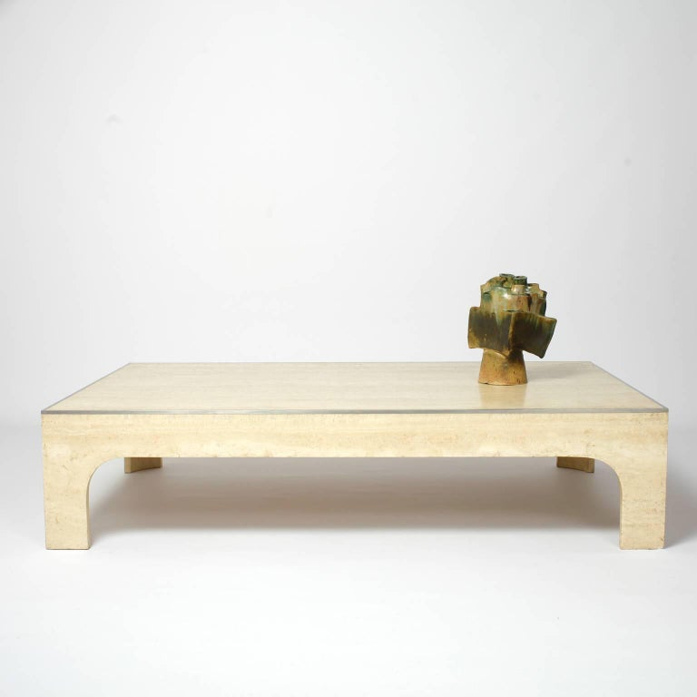 Willy Rizzo Signed Coffee Table Travertine And Steel 1980s