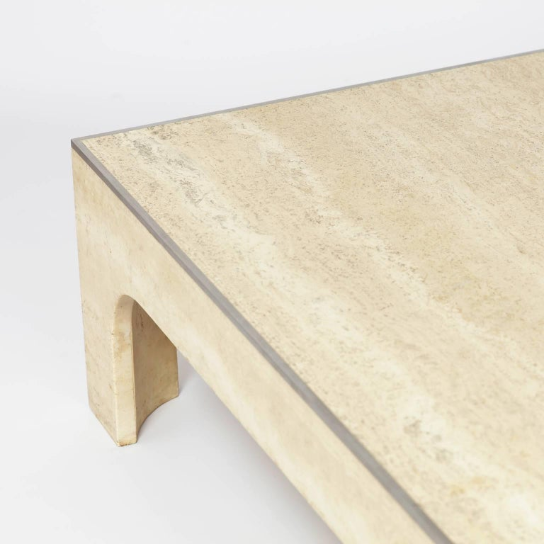 willy rizzo signed coffee table travertine and steel. Black Bedroom Furniture Sets. Home Design Ideas