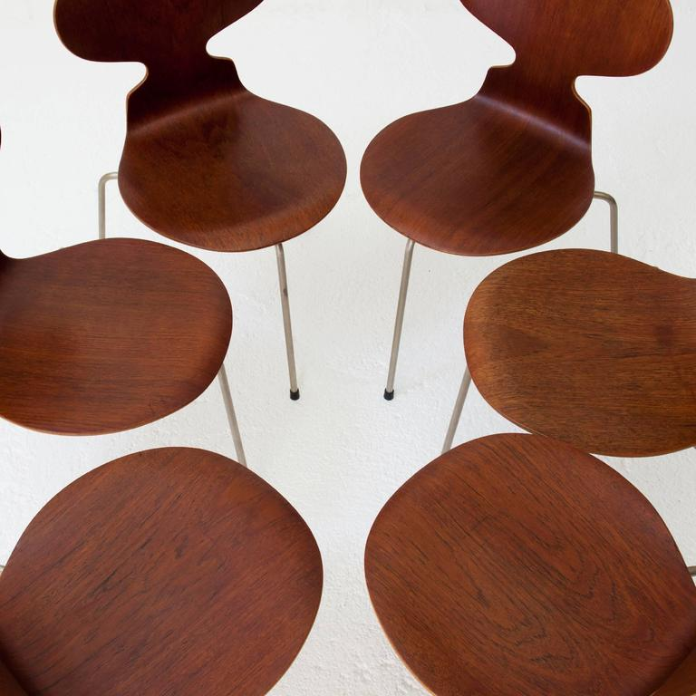 teak ant chairs 3100 arne jacobsen for fritz hansen early 1960s at 1stdibs. Black Bedroom Furniture Sets. Home Design Ideas