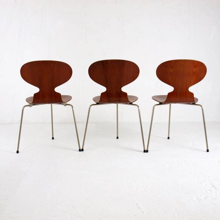 Set Of Three 3100 U0027Antu0027 Chairs Designed By Arne Jacobsen (1902 1971