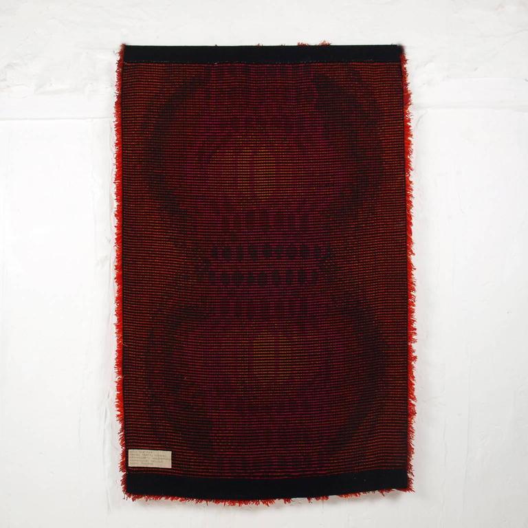 Terttu Tomero Katiska Fishtrap Red Wool Rug Finland 1960s