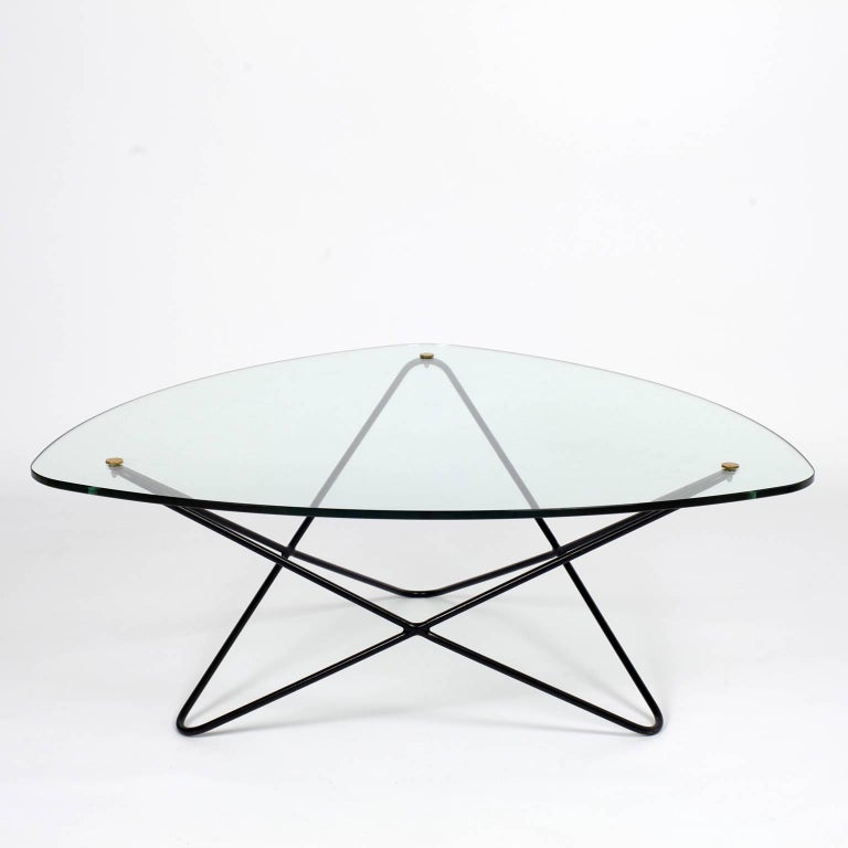 French 1950s Glass And Metal Coffee Table By Florent