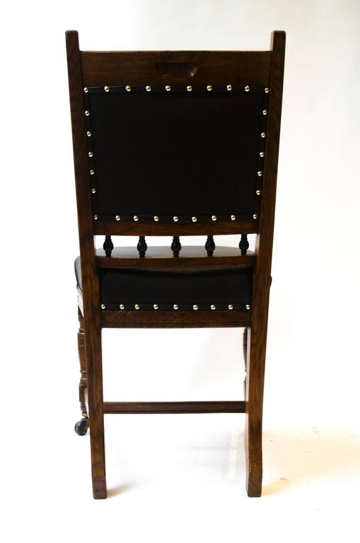 Lambs of Manchester A Set of Four Aesthetic Movement Oak & Leather Dining Chairs In Good Condition For Sale In London, GB