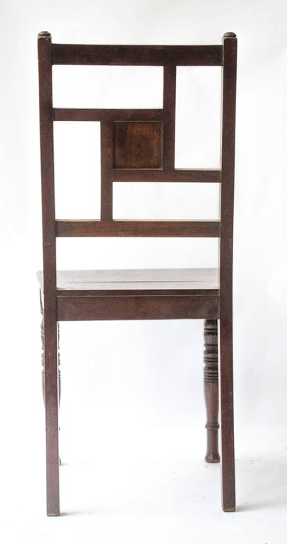 English Bruce Talbert attri, An Anglo-Japanese Walnut Chair With a Carved Sunflower  For Sale