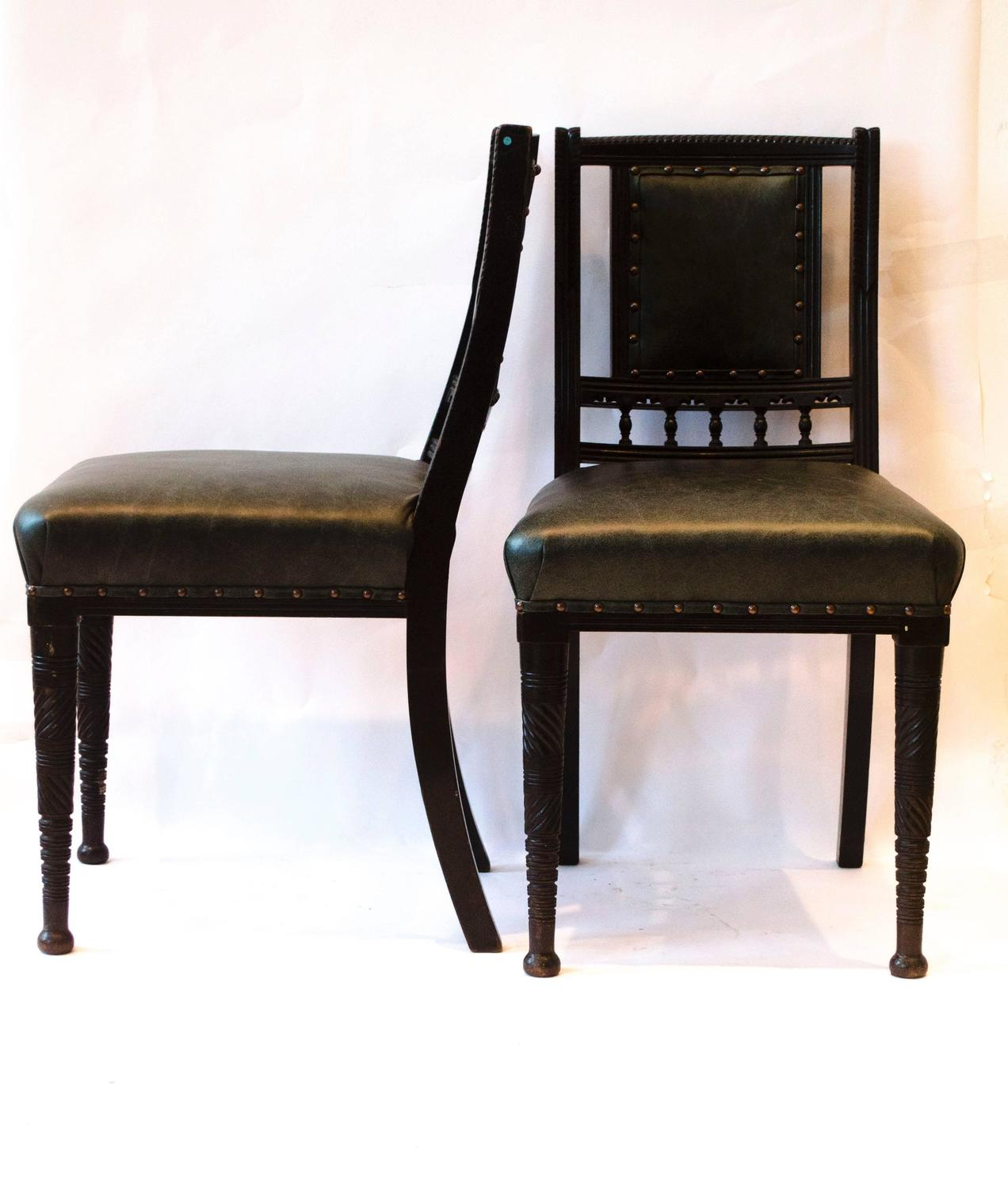 Four arts and crafts ebonised dining chairs by b talbert for sale at 1stdibs - Arts and crafts dining room furniture ...