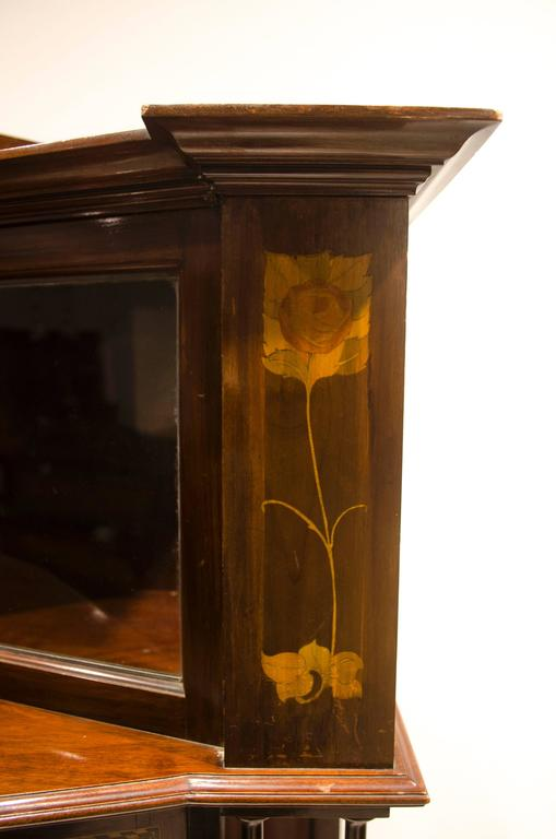 Hand-Crafted Arts & Crafts Mahogany & Inlaid Display Cabinet by E. Goodall For Sale
