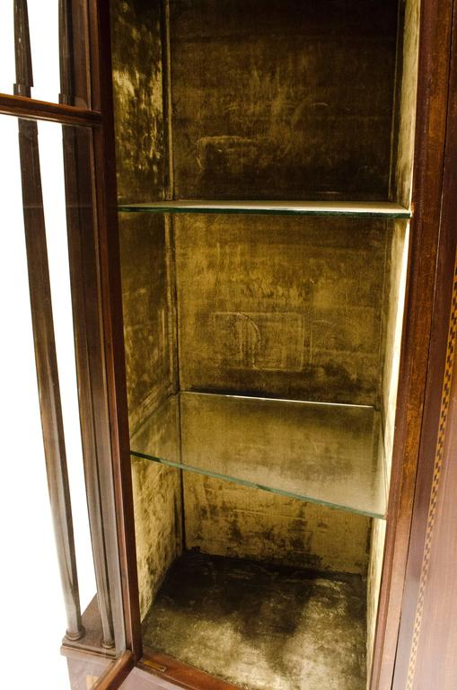English Arts & Crafts Mahogany & Inlaid Display Cabinet by E. Goodall For Sale