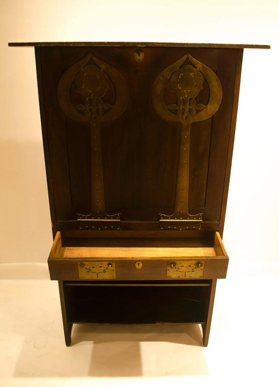 Arts And Crafts Cypress Wood And Brass Writing Cabinet By