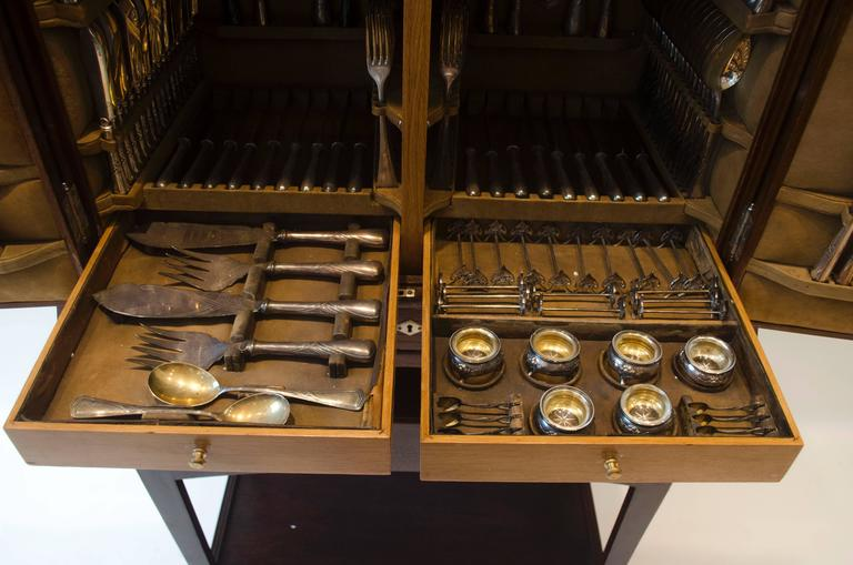 WMF Rare Art Nouveau Silver Plated Cutlery Set for 24 Persons In Good Condition For Sale In London, GB