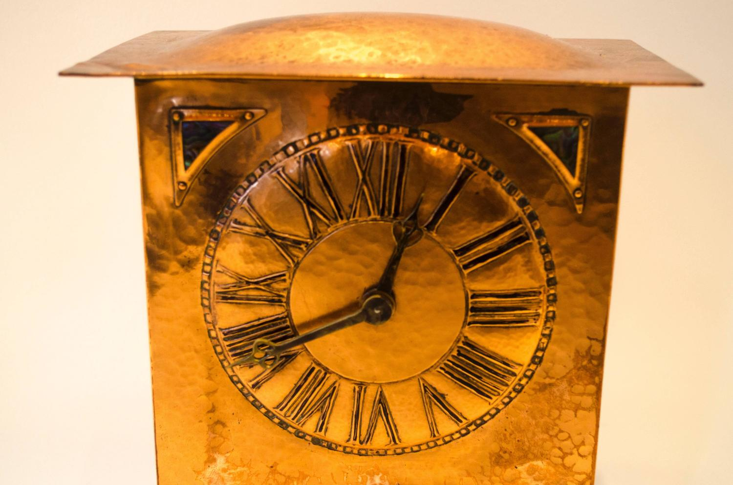 Arts and crafts copper clock by collins and co for sale at for Arts and crafts clocks for sale