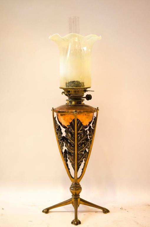 Rare Arts And Crafts Oil Lamp By Was Benson For Sale At 1stdibs
